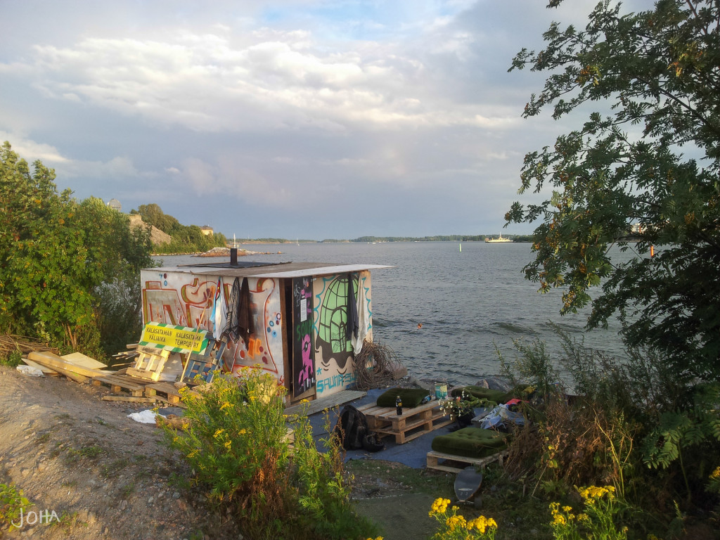 Sompasauna was a illegal sauna build every year in Kalasatama, Helsinki. City officials destroyed it every year until the municipality of Helsinki was forced to legalized it due to popularity among city-dwellers.
